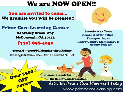 New Prime Care Learning Center location